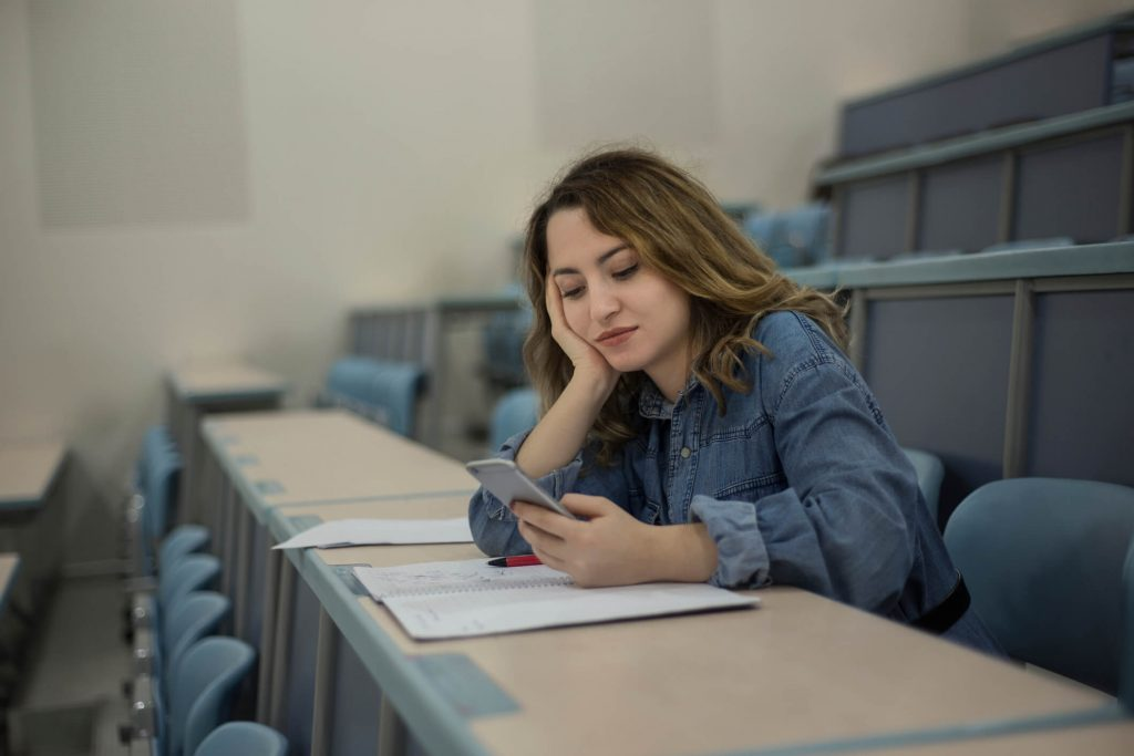 Student Using Her Phone